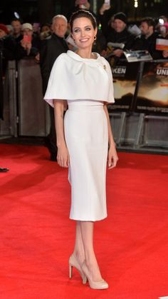 Angelina Jolie promoting 'Unbroken' in London, the actress, director and activist shined in a white pencil dress and bolero cape by Ralph Russo