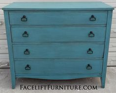 Antique Dresser in distressed Sea Blue with Black Glaze.  New pulls. From Facelift Furniture's Dressers collection.