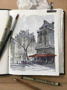 Busy Café in Paris, by Alex Hillkurtz via Urban Sketchers on FB. Architecture Drawing Sketchbooks, Watercolor Architecture, Art And Architecture, Pen And Watercolor, Watercolor Landscape, Watercolor Paintings, Watercolor Trees, Watercolor Portraits, Abstract Paintings