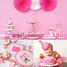 Pretty in Pink: A Super-Girlie First Birthday Party - www.lilsugar.com  I have a love/hate thing with pink....but....I love this. (imagine it in purple though! supa cute)