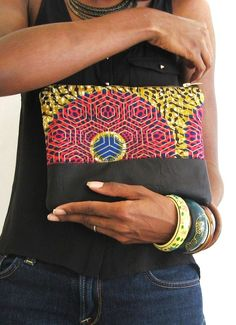 African Ankara Wax and Leather Clutch Purse Pink by PrisstheShop, $35.00
