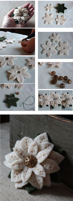 Faça Você Mesmo - Broche feito com flor de feltro: