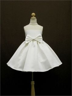 Spaghetti Straps with Bow Taffeta Knee Length Flower Girl Dress FGD1061 www.dresseshouse.co.uk $40.0000