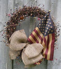 Fall Wreaths Americana Wreath Rustic Decor by NewEnglandWreath