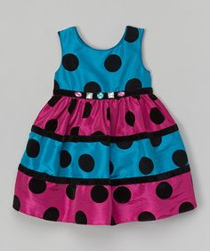 Teal & Pink Flocked Polka Dot Dress - Infant by Sweet Heart Rose #zulily #zulilyfinds