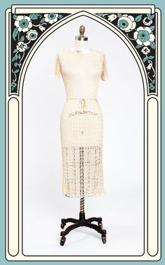 Beautiful 1930s Ivory Silk Acetate Crocheted Dress with Tasseled Belt – Bygones