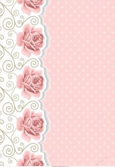 Blank Card Front / Topper – Flourish, Pink Roses & Polka – Famous Last Words Flowery Wallpaper, Flower Background Wallpaper, Flower Backgrounds, Paper Background, Wedding Background, Scrapbook Background, Printable Scrapbook Paper, Small Cards, Pink Paper