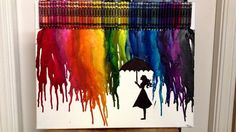 Melted crayon art with girl standing in rain silhouette #CynthiaHsia