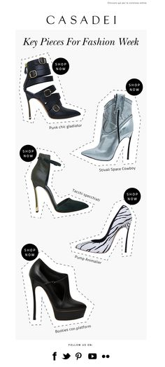 #newsletter Casadei 09.2013 subject: Cinque modi per muoversi con stile nella Fashion Week