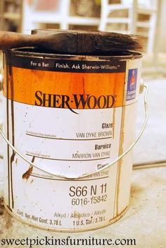Sherwin Williams Sher-Wood glaze in Van Dyke Brown