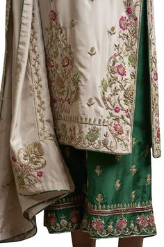 Buy Embroidered Silk Kurta Set by Sue Mue at Aza Fashions Buy Embroidered Kurta Set by Sue Mue at Aza Fashions Embroidery Suits Punjabi, Zardosi Embroidery, Kurti Embroidery Design, Hand Work Embroidery, Couture Embroidery, Embroidery Fashion, Hand Embroidery Designs, Embroidery Dress, Border Embroidery