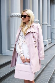 pastels & lace // in soho (Atlantic-Pacific) Spring Summer Fashion, Spring Outfits, Winter Outfits, Look Hippie Chic, Spring Jackets, Feminine Style, Classy Outfits, Modest Outfits, Mantel