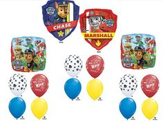 15pc. Paw Patrol Happy Birthday Balloons Party Decorations Favors Supersized Centerpiece