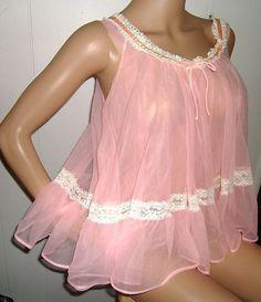 Vintage 1950's tutti-fruity pink sheer chiffon babydoll nightie