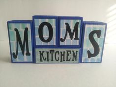 ON SALE Mom's Kitchen Wood Block Sign by ForeverYoursCreation, $9.00