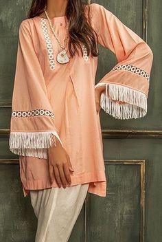 Nice Kurti Sleeves Design, Kurta Neck Design, Sleeves Designs For Dresses, Dress Neck Designs, Stylish Dress Designs, Blouse Designs, Simple Pakistani Dresses, Pakistani Fashion Casual, Pakistani Dress Design
