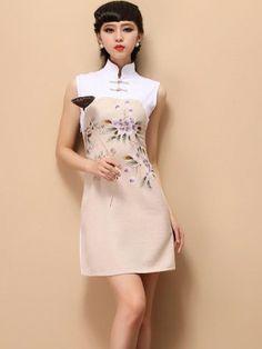 Beige Short Sleeveless Casual Qipao / Cheongsam / Chinese Dress