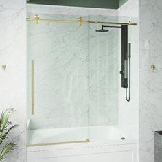 "SUNNY 59"" W x 62"" H Semi-Frameless Shower Door | Wayfair Vigo Shower Doors, Bathtub Doors, Frameless Sliding Shower Doors, Bathroom Doors, Sliding Doors, Small Bathroom, Bathrooms, Bathroom Ideas, Master Bathroom"