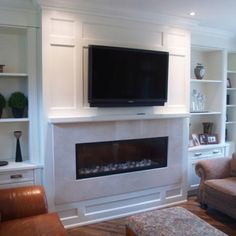 Mind Blowing Useful Tips: Round Corner Fireplace fireplace cover how to build.Contemporary Fireplace With Built Ins cabin fireplace building.White Fireplace And Mantels. Family Room Design, Fireplace Built Ins, Horizontal Fireplace, Simple Living Room, Home, Wall Units With Fireplace, Linear Fireplace, Great Rooms, Home Fireplace