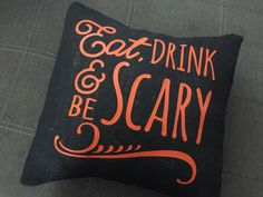 A personal favorite from my Etsy shop https://www.etsy.com/listing/253066450/eat-drink-be-scary-burlap-envelope