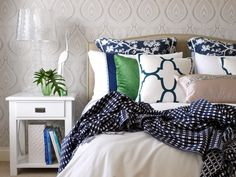Blue and Green Gallerie Bedroom