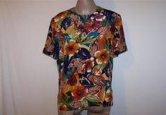 KASPER Shirt Top Blouse Sz 12 Short Sleeves Colorful Floral Womens Career Work #Kasper #Blouse #Career