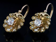 Antique 19th Century French Shell Shaped Diamond Earrings - Antique Jewelry | Vintage Rings | Faberge Eggs