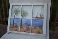 Old Window/Hand Painted Window/Beach Scene Window/ Shabby Chic