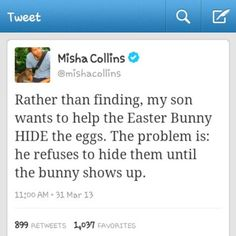 Misha Collins via Twitter--sounds like his father's son! ;)