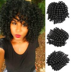 """Most recent Snap Shots Details about Crochet Hair Extensions Black Braiding Twist Hair Synthetic Jumpy Wand Curl Popular """"Warm"""" practices for hair extension The adhesive substance is usually used artificial Keratin. # side Braids with extensions Crochet Hair Extensions, Synthetic Hair Extensions, Braid In Hair Extensions, Curly Crochet Braids, Curly Crochet Hair Styles, Curly Hair Styles, Crochet Curl, Black Hairstyles Crochet, Crochet Bob"""