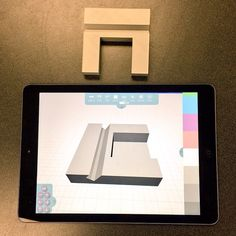 Beautiful #minimal tablet + phone stand made in Morphi by 15 yr old Kevin using #cubes from our shapes pack. #3dprinting #design #ipad #makered #create #3dmodel #3ddesign #3dprinter #3dmodeling #app #apple #STEAM #student #camp #summer #maker #makermovement