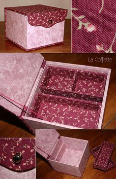 mon cartonnage - Carton'elles Diy Cardboard Furniture, Cardboard Crafts, Paper Crafts, Carton Diy, Diy Desktop, Scrapbook Box, Diy Storage Boxes, Wedding Gift Boxes, Sewing Art