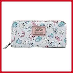 eb23ff228 This pink and white wallet from Loungefly features all-over print of  Pikachu, Bulbasaur, cute Squirtle, and Charizard. Silver and pink resin  Sanrio Pokemon ...