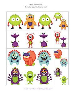 Preschool Printables: Monsters: use for memory
