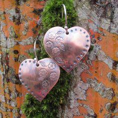 SweetHeart Copper Earrings by mywifesstudio on Etsy, $30.00