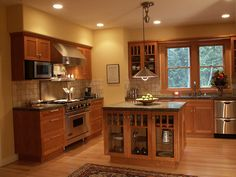 Bungalow Kitchen, seems like a smaller kitchen. I hate pinning kitchens that will never be even close to attainable. Craftsman Style Kitchens, Craftsman Remodel, Bungalow Kitchen, Bungalow Homes, Home Kitchens, Kitchen Redo, New Kitchen, Kitchen Remodel, Kitchen Ideas
