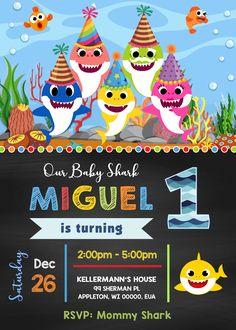 First Birthday Parties, 2nd Birthday, First Birthdays, Printable Invitations, Birthday Invitations, Happy Shark, Party Themes, Jr, Digital