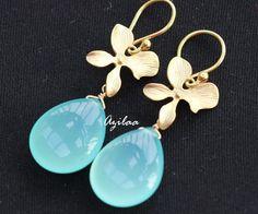 Aqua Blue Chalcedony Gold  flower Gemstone Earrings $2500.00
