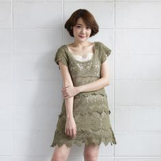 Short-Sleeve Dresses Lace Cotton Sweet Garden Green Color-www.tanbagshop.com