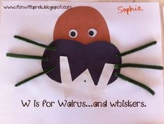 pinterest letter R crafts | is for Walrus (and whiskers!) Fun preschool craft for the letter W.