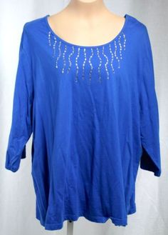 Liz-and-Me-Womens-Royal-Blue-Embellished-3-4-Sleeve-Round-Neck-Knit-Top-Size-2X