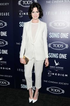 Anne Hathaway Wears White on White