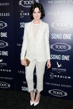 Anne Hathaway Wears White on White