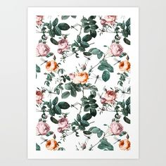 Floral and Winged Darter Art Print