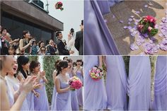 The girls at Carmen & Adrian's real wedding, featured in Celebrate's e-magazine and photographed by Plush Photography. #weddings #photography #singapore #bridesmaids #purple #dress