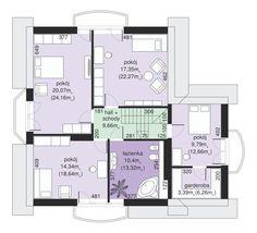 Rzut Dom przy Pomarańczowej 2 CE House Plans, Floor Plans, How To Plan, Modern, Home Office Desks, Log Homes, Offices, Trendy Tree, House Floor Plans