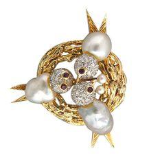Vintage 1960s Trio 3-D14k Gold Pear Diamond Ruby Baroque Pearl Bird Nest Pin  - so sweet!