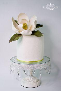 White Magnolia Flower Engagement Cake