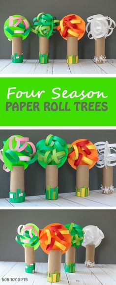 Paper roll four season tree craft for kids to make. Celebrate spring, summer, fall and winter with an easy craft. Great for preschoolers and kindergartners. | at Non-Toy Gifts