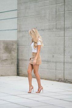 suede-mini skirt and white tee with Drew bag lookalike and stuart weitzman nudist sandals